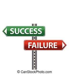 fracaso, éxito, poste indicador