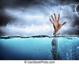 fracaso, ahogo, concepto, -, ayuda