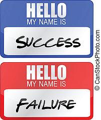 fracaso, etiquetas, éxito, nombre