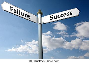 fracaso, o, éxito