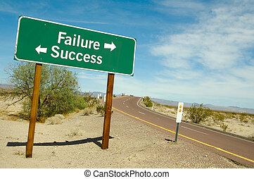 fracaso, o, éxito, señal