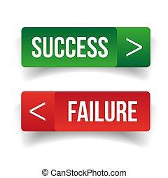 fracasso, botão, sucesso, sinal
