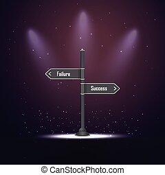 fracasso, indicador, ou, sucesso
