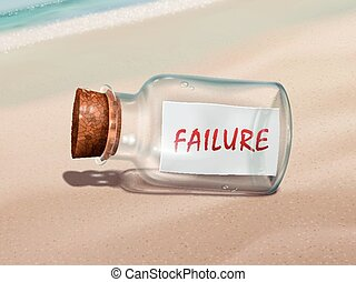 fracasso, mensagem, garrafa