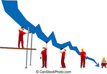 fracasso, negócio, depressão, gráfico