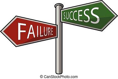 fracasso, ou, sucesso, signpost