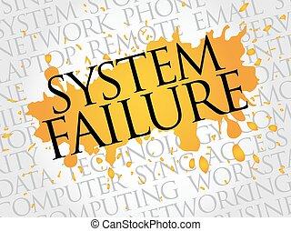 fracasso, palavra, sistema, nuvem