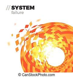 fracasso, sistema, fundo