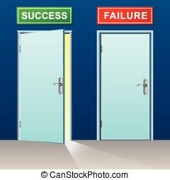 fracasso, sucesso, portas