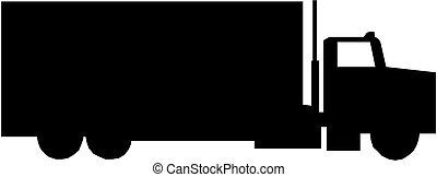 fracht lastwagen, silhouette
