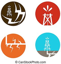 Fracking Oil Icons - An image of a fracking oil icons.