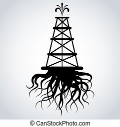Fracking Rig With Roots - An image of a fracking rig with...