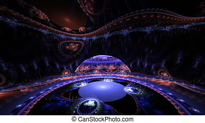 Fractal 3D abstract room in blue and red color