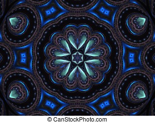 Fractal Abstract Background - Hearts accentuating deep...