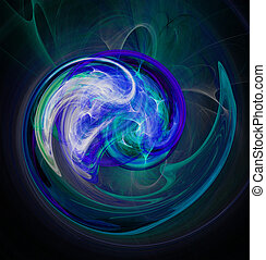 Fractal abstraction. Glowing spiral shape blue, black background