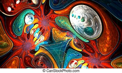 Fractal background with abstract colored oil shapes. High detailed.