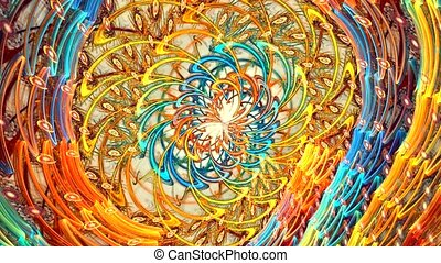 Fractal background with abstract curved shapes. High detailed loop