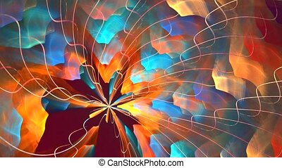 Fractal background with abstract fire spiral. High detailed loop