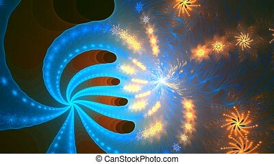 Fractal background with abstract roll spiral shapes. High detailed loop
