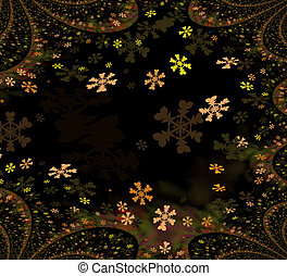 Fractal background with snowflakes
