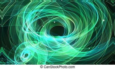 Fractal based green fantasy movie on black background....