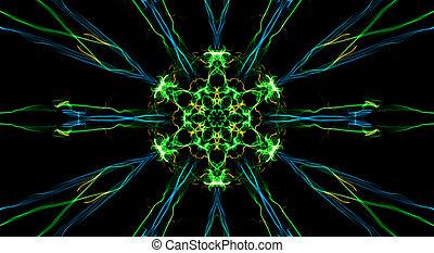 fractal, bloem, zwarte achtergrond, kleurrijke