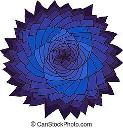 Fractal blue flower. Vector rose. Abstract star design element.