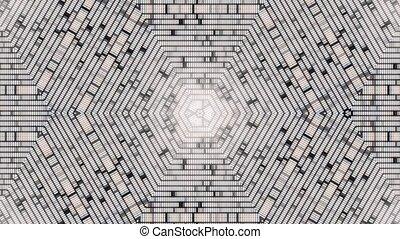 Fractal blue kaleidoscopic background. Background motion with fractal design. Disco spectrum lights concert spot bulb