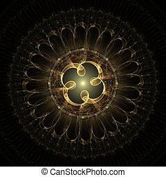 fractal, creazione, disegno, centro