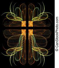 fractal, crucifijo, con, corazones
