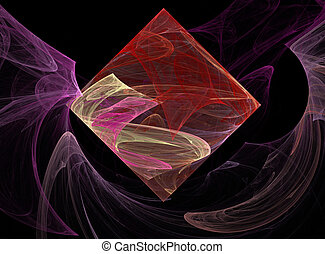 Fractal Diamond Floating in Smoky - Pink, red, and beige ...