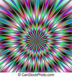 Digital abstract image with a exploding fractal design in pink, purple and green.