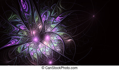 Fractal fantasy and artistic flower. Beautiful shiny futuristic background.