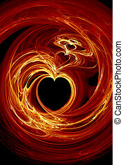 Fractal fire hearts - Rendered fractal fire hearts over...
