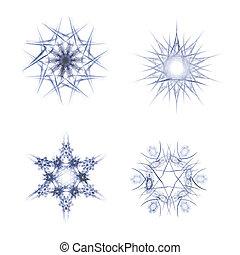 fractal, flakes, sneeuw