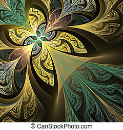 Fractal flower or butterfly background in stained-glass...