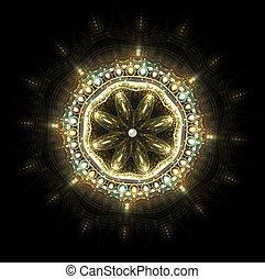 fractal, glowing, ilustração, jóia, brooch, com, pedras...