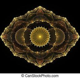 fractal, gouden, mandala, zwarte achtergrond