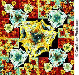 fractal illustration background bright carpet with geometric des