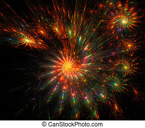 fractal illustration fireworks over a black background