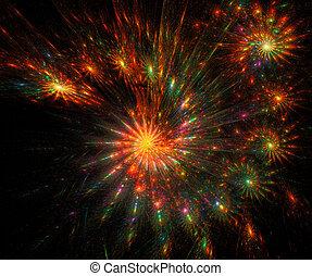 fractal illustration fireworks over a black background
