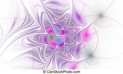 Fractal illustration of bright background with floral ornament.
