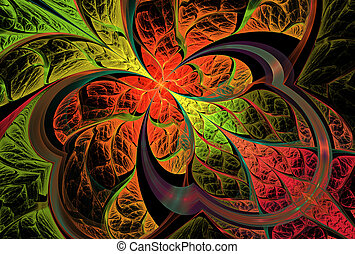 fractal illustration of bright background with floral...
