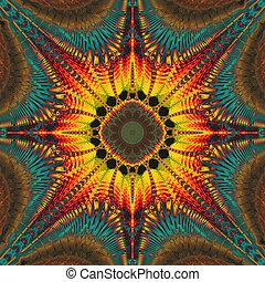 fractal illustration of bright background with floral...