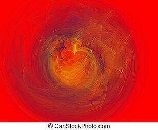 fractal illustration of red tunnel