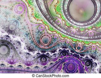 Fractal Julian Steampunk Jewelry Background - Fractal Art. Beautiful fractal illustration. Perfection in geometry.