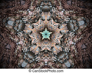 Fractal kaleidoscope background with images forming a star-shaped pattern