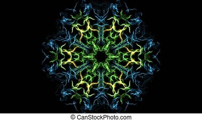 Fractal live mandala in green, blue and yellow design, fine brush patterns on black background, loop motion, abstract footage