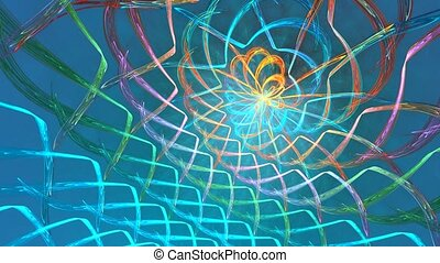 Fractal loop background with abstract shapes. High detailed loop
