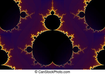 Mandelbrot fractal in the colors of purple golden yellow blue.
